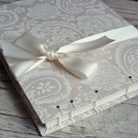 Wedding Guest Book Ivory  Wedding Guest Book Ivory and White Paisley Select a Size