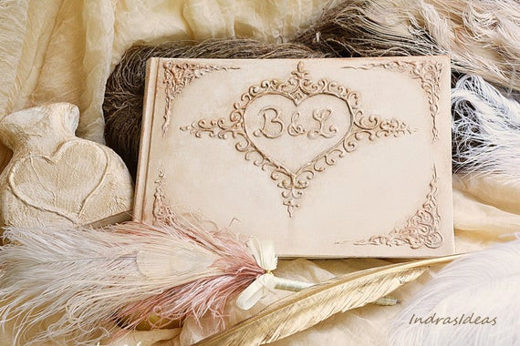 Wedding Guest Book Ivory  Elegant Ivory Wedding Guest Book Personalized guest book
