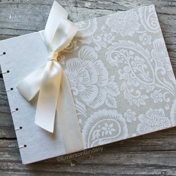 Wedding Guest Book Ivory  Items similar to Floral Guest Book Elegant Wedding Guest