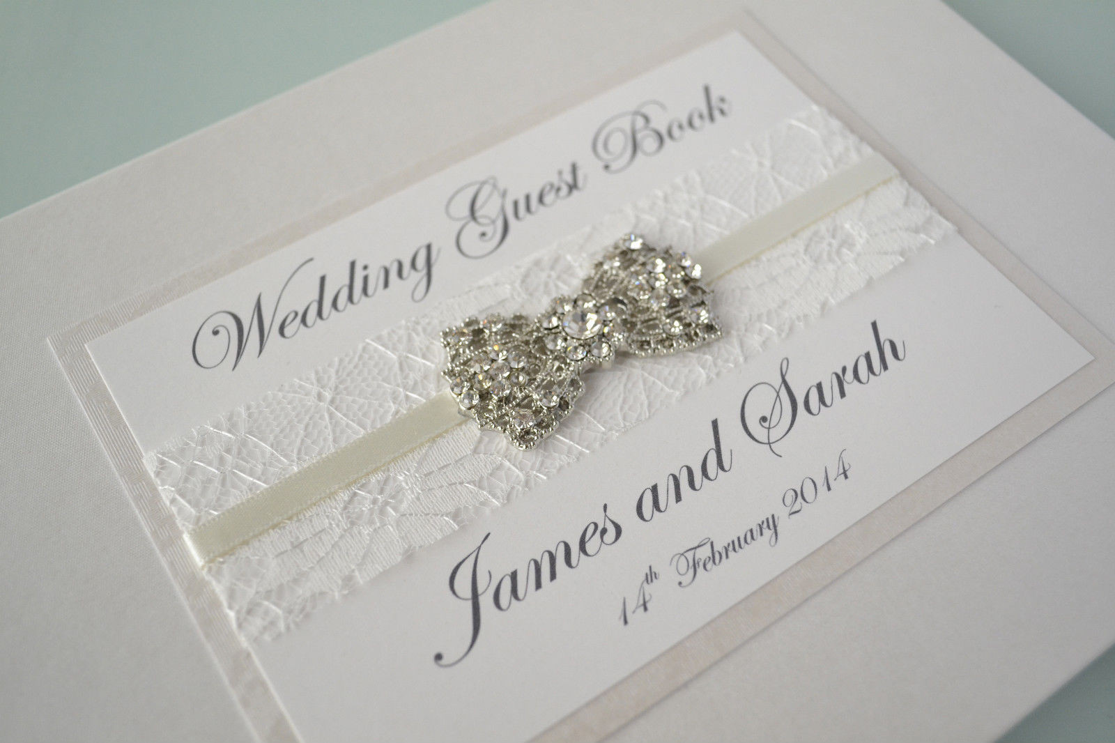 Wedding Guest Book Ivory  Ivory Wedding Guest Book with Beautiful Lace Ribbon