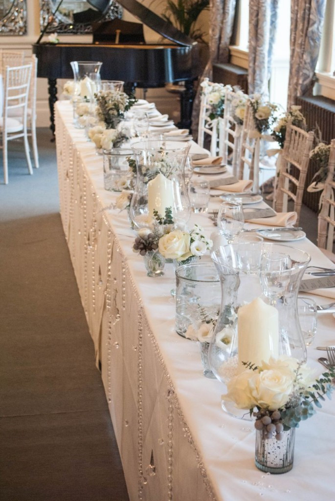 Wedding Table Decorations  Winter wedding flowers at Eaves Hall