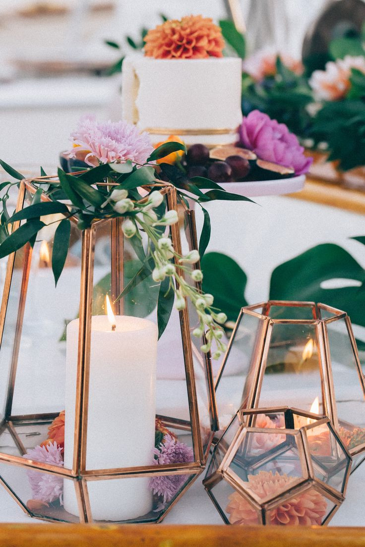 Wedding Table Decorations  Ideas for Bronze Copper Wedding Table Decoration